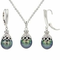 Sterling Silver 10-11mm Black Tahitian Cultured Pearl Pendant Chain and Lever...
