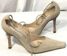 MANOLO BLAHNIK Beige Suede Ankle Strap High Heel Pumps 38.5/ 8.5