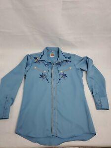 70s 80s Miller Western Wear Denver Co Mens 16 - 35 Long Sleeve Embroidered Shirt
