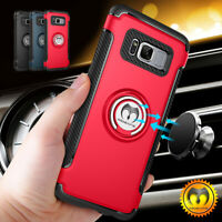 For Samsung Galaxy Note 9 S8 S9+ Plus Rugged Case Cover Bumper Metal Ring Holder