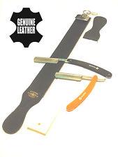 2 PCS Classic Folding Shaving Straight Razors + Leather Sharpening Strop Set NEW