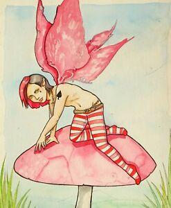 Original Kunstwerk Fantasie Fliegenpilz Fairy Sprite Von Mortimer Sparrow