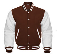 Varsity Jacket Letterman Baseball Brown wool and Genuine White Leather Sleeves
