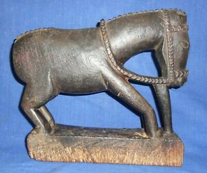 Vintage Old Early Wooden Tribal Hand Carved Horse Sculpture Statue Hindu Worship
