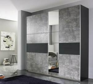 Rauch KORBACH Sliding Door Wardrobe Stone Grey / Anthracite Finish - German made