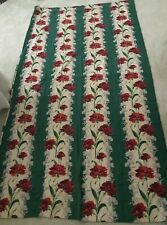 Vintage 40's Florida French Chic Barkcloth Curtain Lovely Carnations 48 X 84