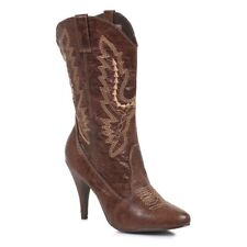 "4"" Black Cowboy Cowgirl Western Sexy Stiletto Costume Womans Boots Size 7 8 9 10"