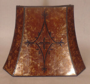 Decorated Antique Amber Cut Corner Copper Foil Frame Rectangle Mica Lamp Shade