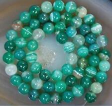 "1 Strand 6mm Green Stripe Agate Onyx Gem Round Loose Bead 15"""