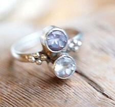 Vintage Silberring 52 Elegant Amethyst Lila Handarbeit facettiert Ring Silber