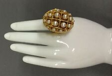 """Vtg 70's AVON """"Ring of Pearls"""" Faux Pearl Perfume Glace Adjustable Chunky Ring"""