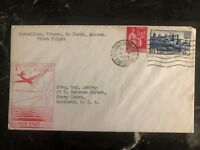 1939 Marseille France First Flight Airmail Cover FFC to HOrta Azores Portugal