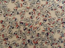 Cream Skull Print Polyester Georgette Fabric Material Soft Drapey Goth Halloween