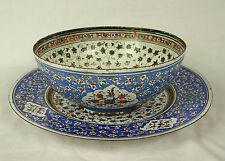 Bowl and saucer enameled enameled signed work syrian Syria Syria circa 1900