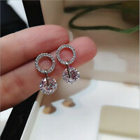 Sparkling 925 Silver Round White Sapphire Circle CZ Dangle Earrings Jewelry Gift