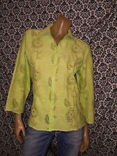 JH Col. Green Floral Sequin Collar 3/4 Slv Blouse Top Shirt Womens LARGE USED
