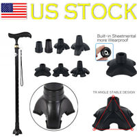 2 X Crutch Canes Rubber Self Standing Walking Stick Tripod Tip End Cap Non-slip