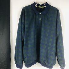 Bastion Golf Mens Large Windbreaker Pullover Jacket Plaid Blue Green