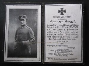 Original Sterbebild Flieger Pilot Luftwaffe 1. WK Absturz 2.6.1918 Orden