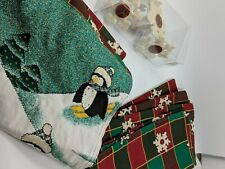 Penguin Table Runner, 4 Napkins And 4 Snowflake Rings Set Christmas