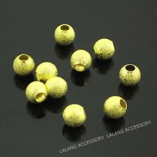 100pcs Wholesale Gold Stardust Copper Ball Bead Charms Sparkle Spacer Beads JJ