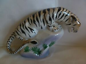 VINTAGE WAWEL POLAND PORCELAIN TIGER ON A ROCK  LUSTER WARE   POLISH  FIGURINE