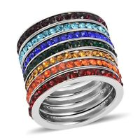 Multi Color Crystal Steel Stackable Band Ring Jewelry for Women Set of 7 Size 7