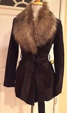 INC International Concepts Jacket Coat Suede Belted Faux Fur Dark Brown S $299