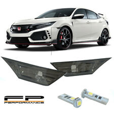 Fit 2016-2018 Honda Civic Smoke Lens Side Marker Lights Lamps +T10 SMD LED Bulbs