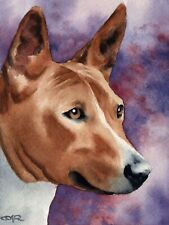 Basenji Watercolor Dog 8x10 Art Print by Artist Dj Rogers w/Cert of Authenticity