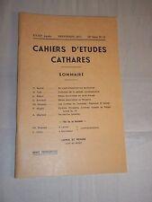 CAHIERS D ETUDES CATHARES. IIe SERIE. N° 53 (1972) CATHARISME / ALBIGEOIS
