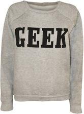 Womens Geek Print Sweatshirt Ladies Long Sleeve Plain Crew Neck Unisex Top Grey 12/14