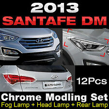 Chrome Foglight+Headlight+Taillight Molding Trim for HYUNDAI 2013-2016 SantaFe