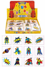12 Childrens Super Hero Temporary Tattoos Kids Loot Party Bag Fillers Boys Girls