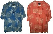 Weekender Men's Casual Lifestyle Orange & Blue Floral Hawaiian Set of 2 Size L