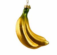 Kurt S Adler Noble Gems Bunch of Bananas Glass Ornament Christmas Hanging Fruit