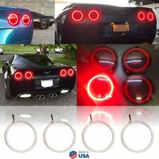 06-13 Chevy C6 Corvette LED HD Red Rear Tail Light Lamp 140mm Halo Ring Set of 4