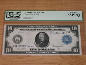 1914 $10 Federal Reserve Note - PCGS 65PPQ Gem New