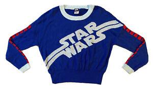 Star Wars Womens Juniors Crewneck Graphic Long Sleeve Sweater Blue Size Medium