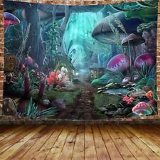 Fairytale Forest Tree Mushroom Tapestry Wall Hanging Psychedelic Tapestry