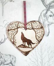 Wolf wooden heart wall plaque ornament home decor interior