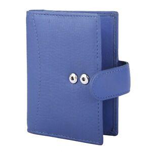 Genuine Blue Leather Credit Card Holder Wallet -20 clear plastic pockets RFID UK