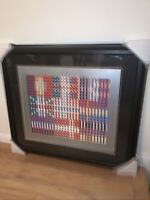 Yaacov Agam Flags Of All Nations Lithograph Signed, Professionally Framed,Matted