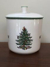 Spode CHRISTMAS TREE  Cookie Jar with Seal Green Trim ~ England