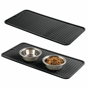 mDesign Silicone Pet Food/Water Bowl Feeding Mat for Cats, Small, 2 Pack - Black