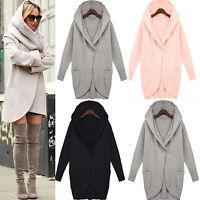Women's Hooded Woolen Hoodie Winter Warmer Pocket Jacket Coat Outwear Overcoat