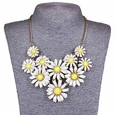 Women's Fashion Daisy Flower Statement Chain Necklace Choker Cluster Bib Pendant