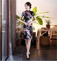 New Luxurious Black Satin Phoenix Chinese Short Dress Cheongsam Qipao lcdress79