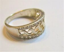 STERLING SILVER CUBIC ZIRCONIA SET CELTIC WAVE RING SIZE Q