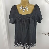 Laura Ashley Top Short Sleeves Spot Embroidered Down Cotton Black Size UK 16